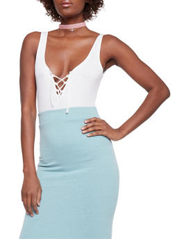 Lace Up Rib Knit Bodysuit - OFF WHITE - 1402054218026