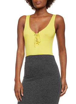 Lace Up Rib Knit Bodysuit - MUSTARD - 1402054218026