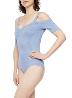 Cold Shoulder Bodysuit in Ribbed Knit - 1402054218027