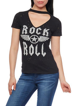 Rock & Roll Graphic Lasercut T Shirt with Keyhole - 1402058601979