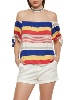 Striped Off the Shoulder Tie Sleeve Top with Choker - 1402058602013