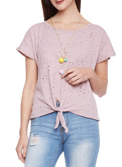 Knotted Lasercut Top with Pom Pom Necklace - 1402058605635