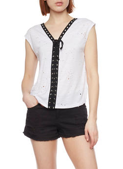 Sleeveless Laser Cut T Shirt with Lace Up Detail - WHITE - 1402058605776
