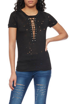 Laser Cut Lace Up T Shirt - 1402058607062