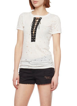 Laser Cut Lace Up T Shirt - WHITE - 1402058607062