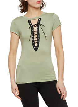 Short Sleeve Plunging Lace Up Keyhole Top - SAGE - 1402061350128
