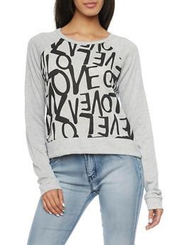 Sweatshirt with Love Print - 1402061350431