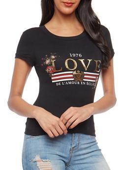 Love Foil Graphic T Shirt - 1402061350468