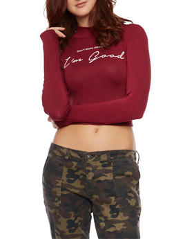 Graphic Crop Top with Dont Worry Im Good Print - BURGUNDY  WHT - 1402061350919
