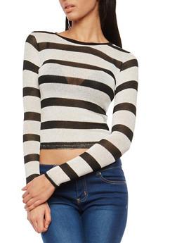 Striped Glitter Knit Sweater - 1402061351010