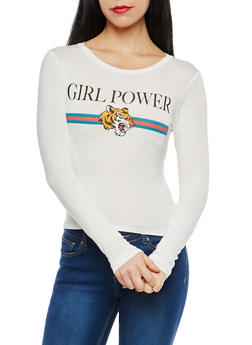 Girl Power Graphic Long Sleeve T Shirt - 1402061351014