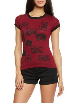 Camera Graphic Ringer T Shirt - BURGUNDY - 1402061351482