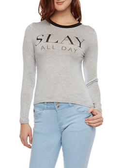 Long Sleeve Top with Slay All Day Graphic - 1402061351648