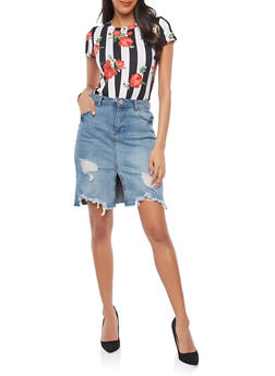 Knot Front Floral Stripe T Shirt - 1402061352437
