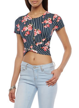 Striped Floral Twist Front Top - 1402061353800