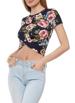 Twist Front Floral Crop Top - 1402061353813