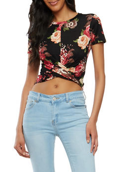 Floral Twist Front Crop Top - 1402061353895
