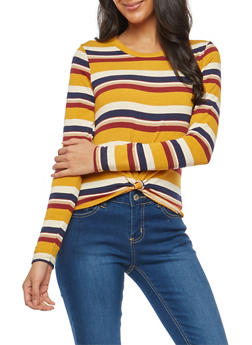 Striped Knot Front Knit Top - 1402061354157