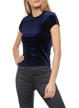 Contrast Trim Velvet Top - NAVY - 1402061354261