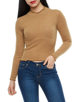 Ribbed Knit Mock Neck Top - 1402061354603