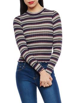 Rib Knit Striped Top - 1402061355518