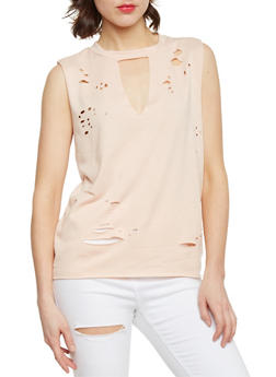 Solid Laser Cut Keyhole Neck Top - 1402061357112