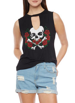 Sleeveless Skull and Roses Graphic Top - 1402061357898