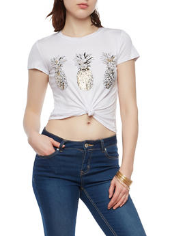 Pineapple Graphic Knot Front Top - 1402061357992