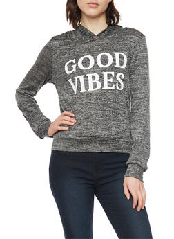 Marled Knit Hoodie with Good Vibes Graphic - 1402061358095