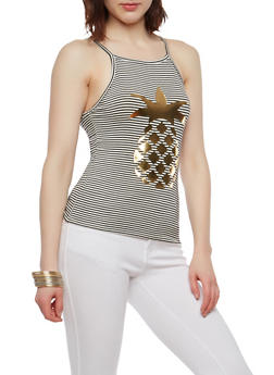 Striped Pineapple Graphic Tank Top - 1402061358291