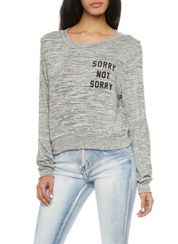 Marled Knit Top with Sorry Not Sorry Print - 1402061358736