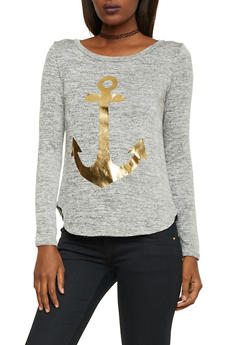 Marled Knit Top with Anchor Graphic - 1402061359058