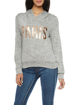 Marled Knit Hooded Top with Paris Foil Print - 1402061359095