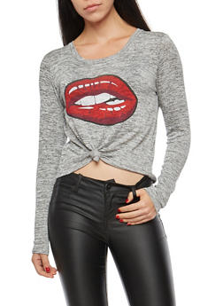 Lips Graphic Knot Front Top - 1402061359133