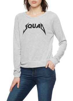 Long Sleeve Top with Squad Graphic - 1402061359431