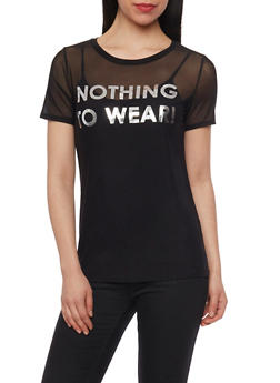 Nothing To Wear Graphic Mesh T Shirt - 1402061359730