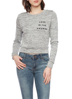 Cropped Marled Sweatshirt with Love Is the Answer Graphic - 1402061359736