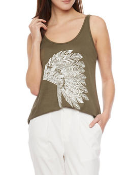 Scoop Neck Graphic Feather Headress Tank Top - OLIVE - 1402061359861