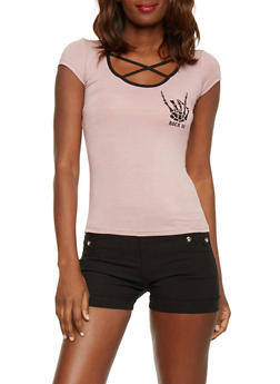 Caged Scoop Neck Rock On Graphic T Shirt - 1402061359873