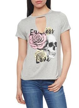 Short Sleeve Graphic Keyhole Neck T Shirt - 1402061359896