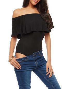 Solid Off the Shoulder Thong Bodysuit - 1402062700487