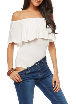 Solid Off the Shoulder Thong Bodysuit - WHITE - 1402062700487