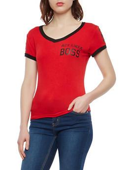 Boss Graphic Contrast Trim T Shirt - 1402062701927