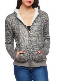Sherpa Lined Zip Up Hooded Sweatshirt - 1402062702587
