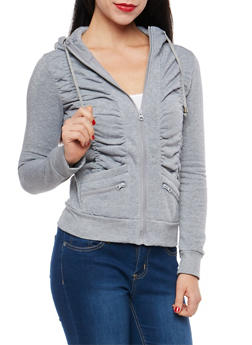 Fleece Lined Ruched Zip Up Sweatshirt - 1402062703727