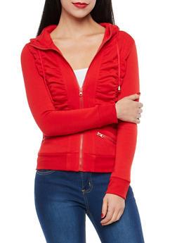 Fleece Lined Ruched Zip Up Sweatshirt - 1402062703727