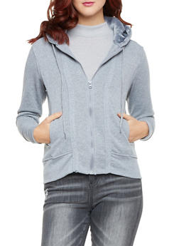 Zip Front Hoodie with Faux Fur Lining - 1402062703729