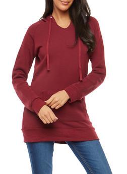 Hooded Fleece Tunic Sweatshirt - 1402062704022