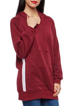 Side Stripe Fleece Lined Tunic Sweatshirt - 1402062704025