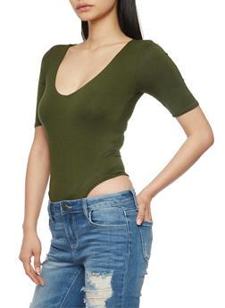 Short Sleeve Solid V Neck Bodysuit - OLIVE - 1402062705322